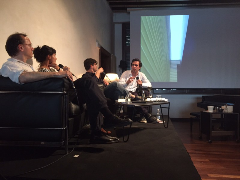 "June 4th, 2015. Salon Suisse at the Pro Helvetia ""S.O.S. Dada"" in Venice. The World Is A Mess"", Opening soirée of the event ""Collective Experiments"" by and with the members of the online forum TERPENTIN. Stefan Neuner, Pathimini Ukwattage, Markus Klammer, and Niels Olsen (v.l.n.r.) are in search of the future of art and discuss Heimo Zoberning's ""Schrauben im Nichts"" (Screws into Nothingness), the incarnate and the fragrance composition by Pamela Rosenkrantz, and Herman de Vries' nudism."