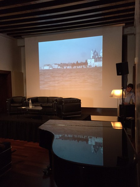 "June 5th, 2015. Salon Suisse at the Pro Helvetia ""S.O.S. Dada"" in Venice. The Serenissima reflected in the grand piano of Guy Debord's inner passion."